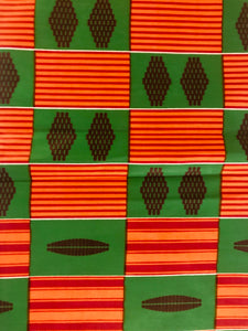 Green and Orange Kente Print