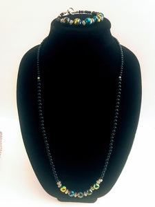 Black Glass Necklace and Bracelet Set