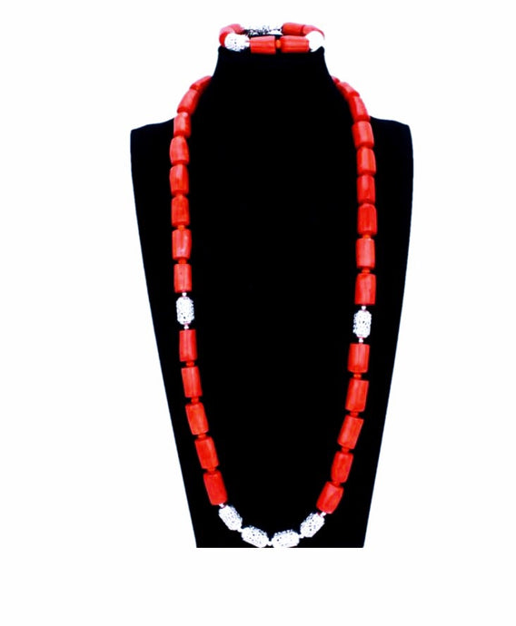 Nigerian Coral Bead Jewelry Set - Men's 05