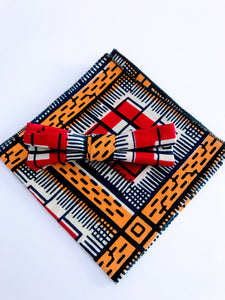 Red and Yellow Grid Ankara Bow Tie and Pocket Square