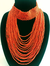 Multi-layered Maasai Beaded Bib Necklace - Orange