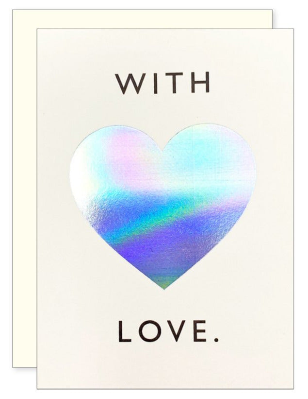 Iridescent Love Heart Mini Card