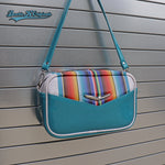 Sky Blue Mini Boxer Bag with wrap around Serape Stripes