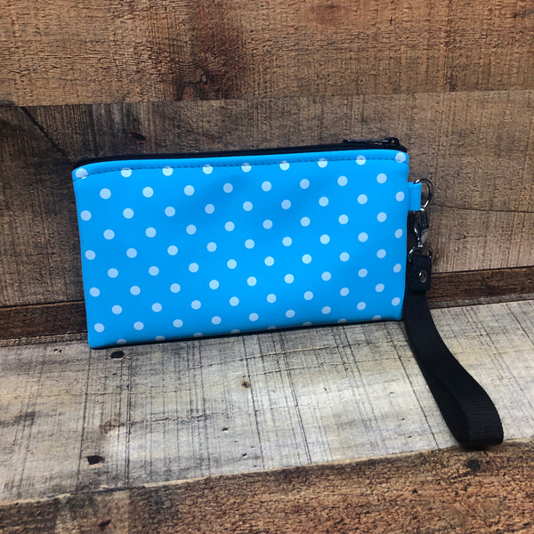 Sky Blue Shimmer with white Polka Dot Wristlet