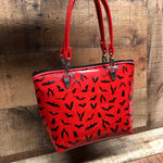 Red Glitter Mini Tote Bag with Bats