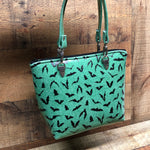 Mint Glitter Mini Tote Bag with Bats
