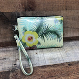 Yellow Hawaiian Glitter Wristlet