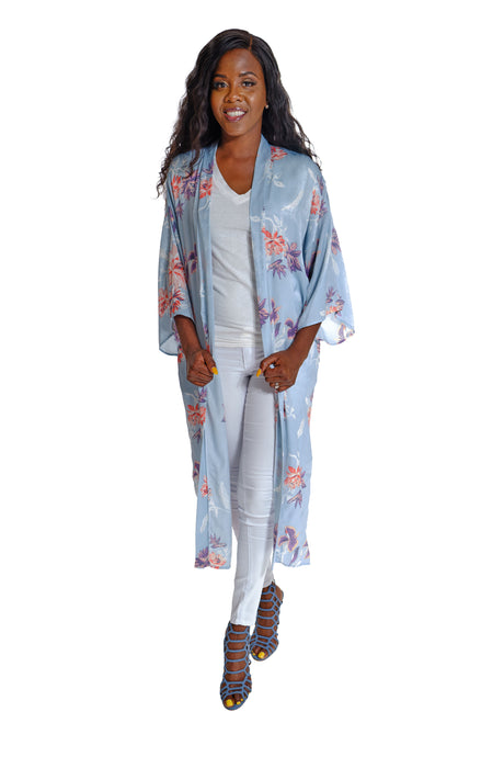 Flower Print Kimono with Bell Sleeves