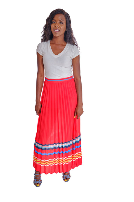 Pleated Maxi Skirt-Bottoms-Jidou's