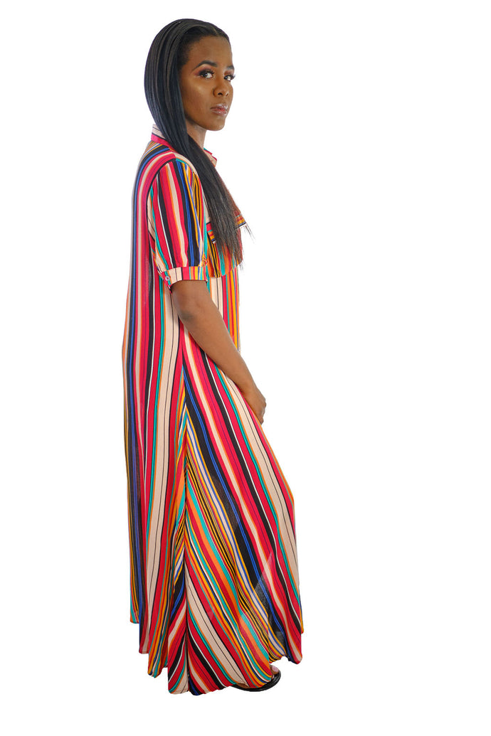 Multi-Color Stripe Maxi Dress-Dress-Jidou's