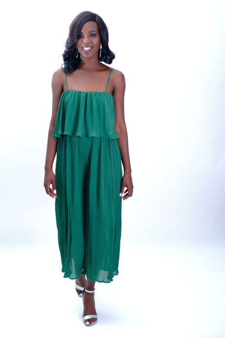 Green Pleated Jumpsuit-Jumpsuit-Jidou's