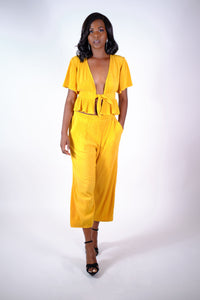 Mustard Ribbed Front Tie Set