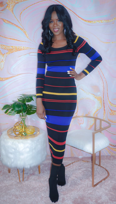Multi Stripe Sweater Dress