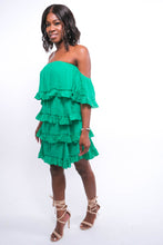 Load image into Gallery viewer, Green Layered Ruffle Dress-Dress-Jidou's