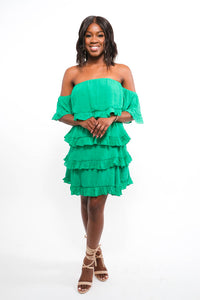 Green Layered Ruffle Dress-Dress-Jidou's