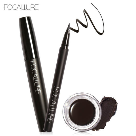 Foacallure 3pcs/set makeup set Including Volum Mascara Eyeliner and Eyebrow Cream Makeup Tool Kit