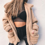 Faroonee Elegant Faux Fur Coat Women 2018  Autumn Winter Warm Soft Zipper Fur Jacket Female Plush Overcoat Casual Outerwear