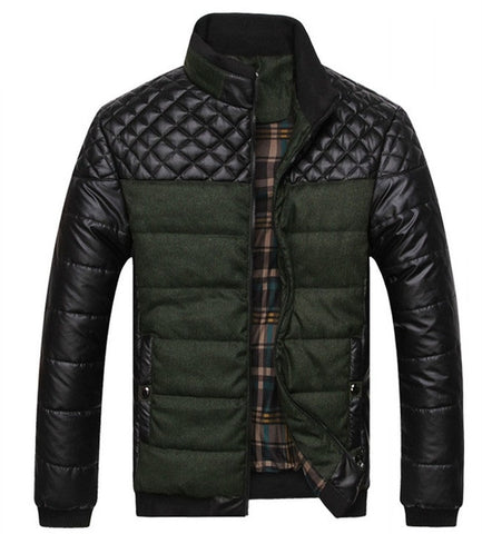 NEW winter spring thick Men's Jackets and Coats PU Patchwork Designer Fashion Mens Jackets Cotton Outerwear