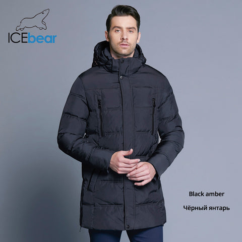 ICEbear 2018 Top Quality Warm Men's Warm Winter Jacket  Windproof  Casual Outerwear Thick Medium Long Coat Men Parka 16M899D