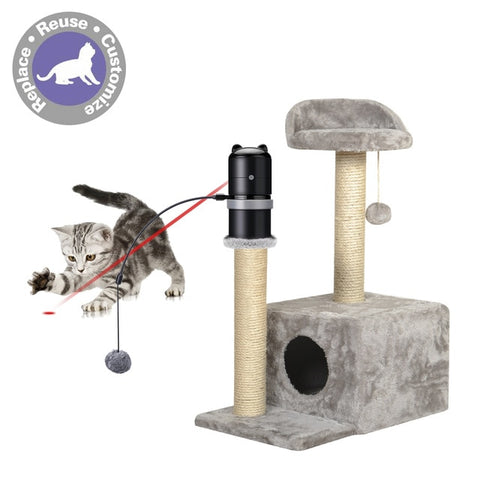 Cat Toys Laser Topper Toys Add to Any Scratching Post 360 degree Automatic Rotating Laser Electronic Motion Laser Cat Toy
