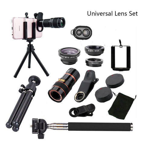 All in 1 Accessories Phone Camera Lens Top Travel Kit For iPhone 8 X 7 6 Plus Samsung galaxy S9 HTC for XIAOMI HUAWEI cellphones
