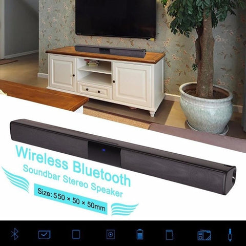 Home Design Wireless Bluetooth Soundbar Stereo Speaker TV Home Theater TF USB Sound Bar(Black)