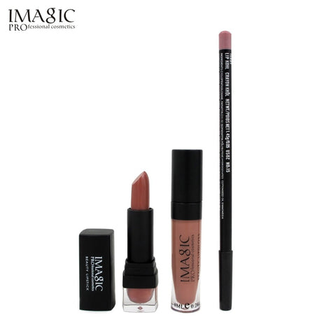 IMAGIC 3PCS/SET  lip Makeup Waterproof  Strawberry Long Lasting Lipgloss+ Lipstick+ LipLiner Pencil Makeup Set