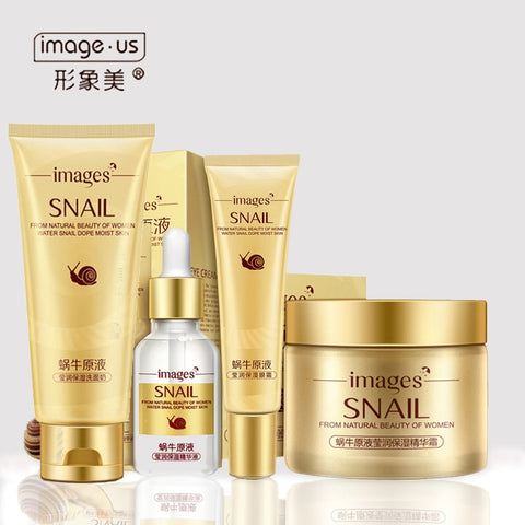 4 Pcs  Snail Face Skin Care Set Day Cream/ Essence/ Eye Cream/Cleanser Anti Aging Repair Whitening Nursing Facial Set