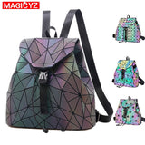 MAGICYZ Women Laser Luminous Backpack School Hologram Geometric Fold Student School Bags For Teenage Girls holographic sac a dos