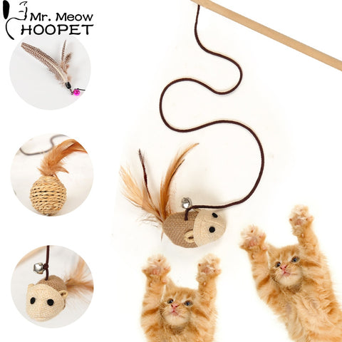 Hoopet Pet Cat Toy Teaser Multi Color Bird Feather Goods for Cats Cat Catcher Teaser Stick Toys Cat Supplies