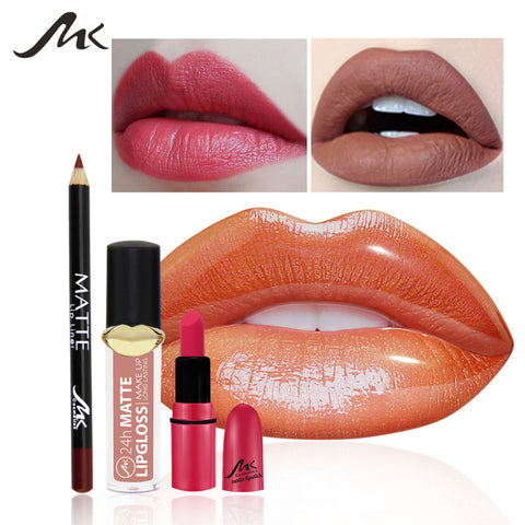 Lip Gloss Set Brand Makeup Set 2 Matte Velvet Lip Gloss + 1 Lip Liner Lipstick Shell Makeup Set Waterproof and Moisture Lasting