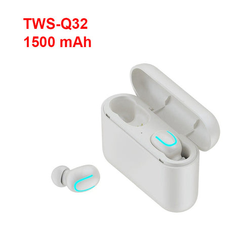 TEBAURRY Bluetooth Earphones 5.0 TWS Mini Wireless Headset Stereo Deep Bass Earphone with charging box 1500 mAh Power bank