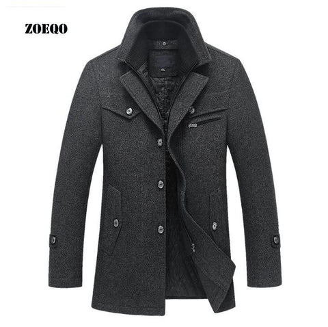 New Winter Wool Coat Slim Fit Jackets Mens Casual Warm Outerwear Jacket and coat Men Pea Coat Size M-4XL