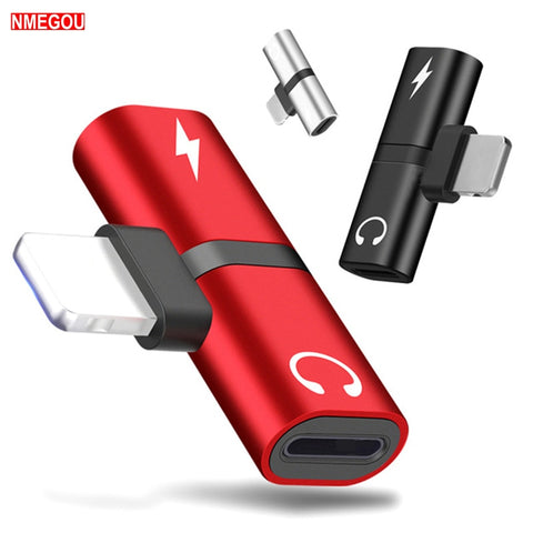 2 In 1 Dual Ports Headphone Adapter Phone Case for IPhone X XR XS Max 7 8 Plus 7Plus 8Plus Charger Audio Alloy Cover Accessories