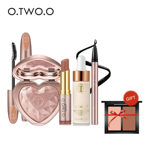 O.TWO.O Makeup Set 6Pcs Foundation, Lipgloss, Eyeliner, Highlighter, Mascara, Bronzers Palette Professional Makeup Set
