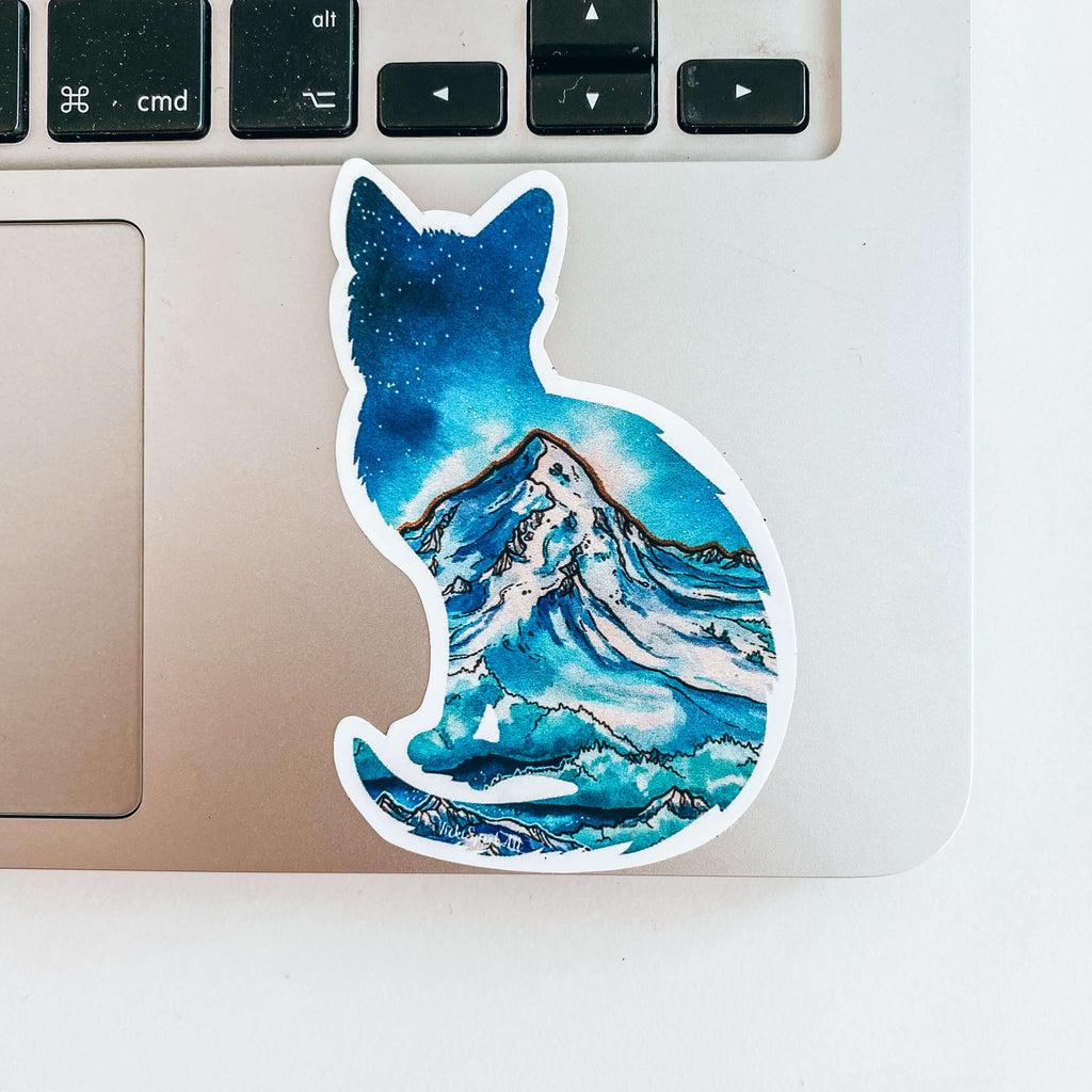 Adventure Cat Art Sticker