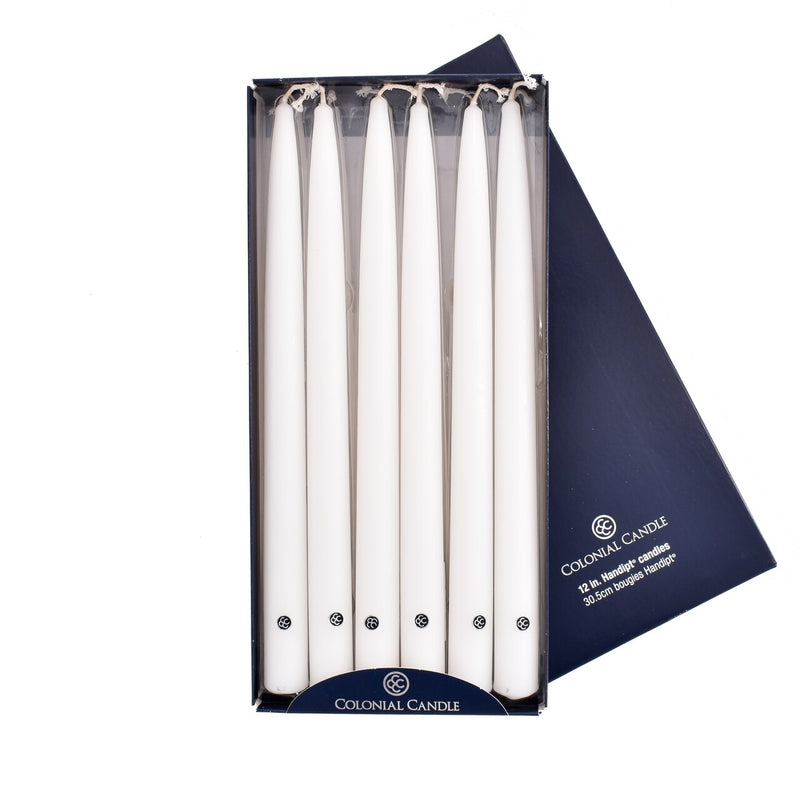 "Colonial Candle - 12"" Handipt Taper Candles - White"