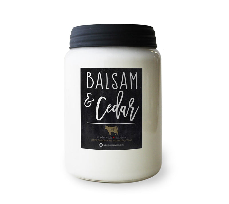 Milkhouse Candle Company, Farmhouse Collection Mason Jar Candle, 26 Ounce Apothecary Jar, Balsam & Cedar
