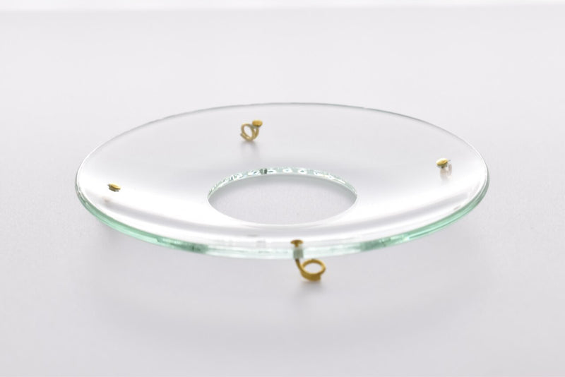 Bobeche - SET OF 2 Clear Plain Glass Large 4 Inch with Four Gold Hooks