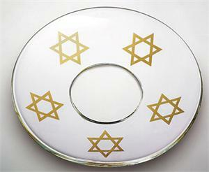 Bobeche - SET OF 2 Star Of David Frosted Glass 2.75 Inch