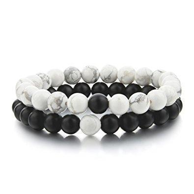Omega™ - Marble Bracelet Natural Stone - White and Black by Instant Champs