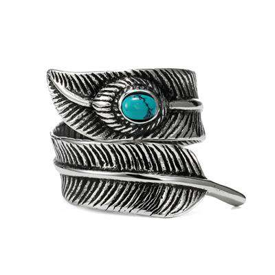 Titanium Blue Stone Feather Ring