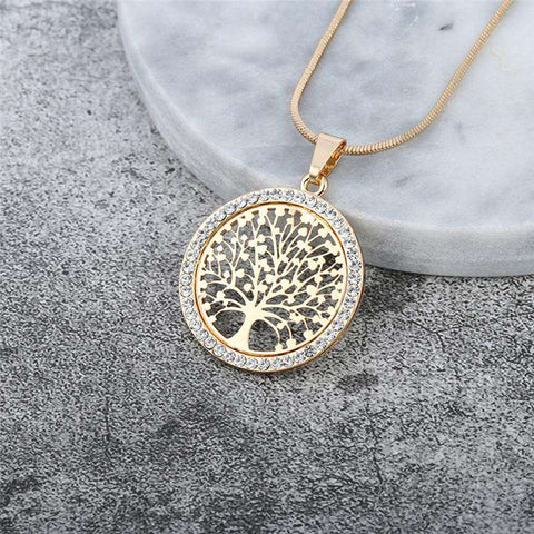Tree of Life Crystal Round Necklace