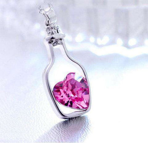 Crystal Heart in Bottle Necklace