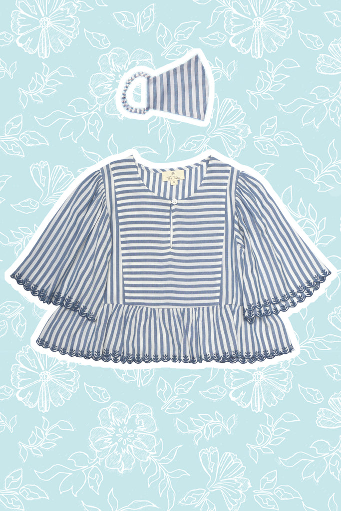 Greta Top - Blue Stripes