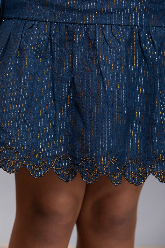 Ella Skirt - Blue Lurex Stripes