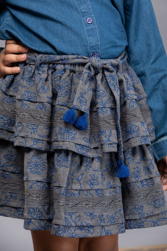 Camila skirt - Blueberry Bouquet