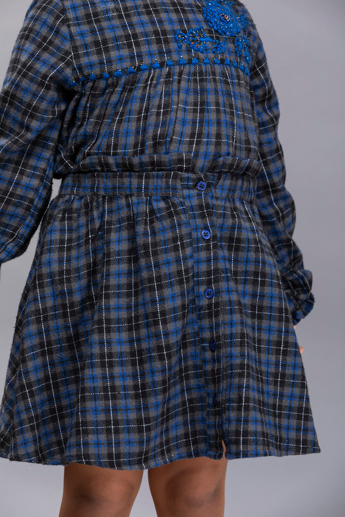 Salma Skirt - Blue Checks