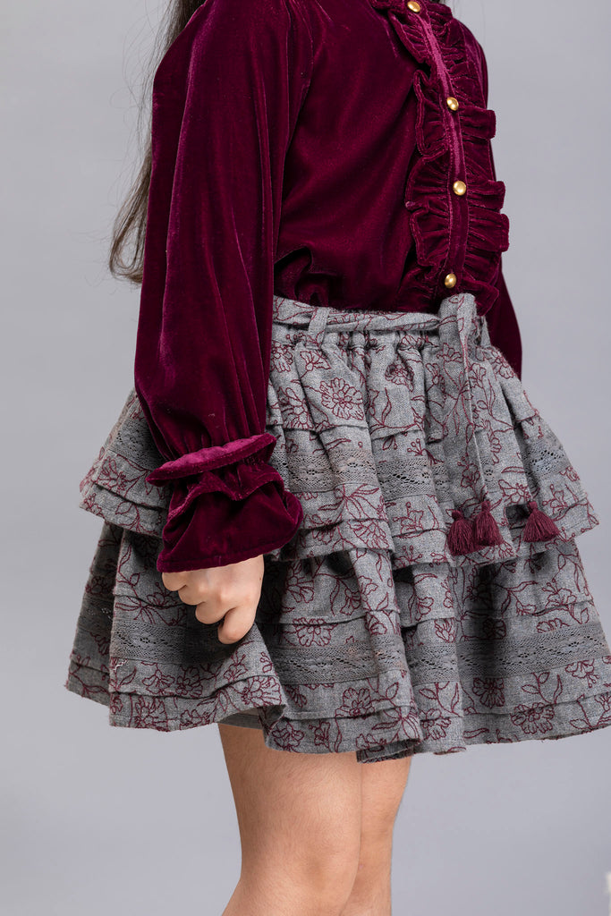 Camila Skirt - Wine Bouquet