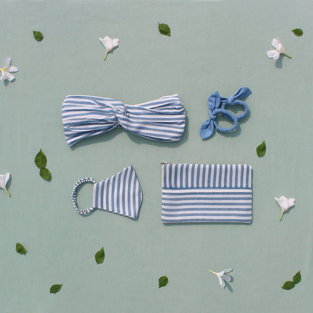 Set of accesories - Blue stripes